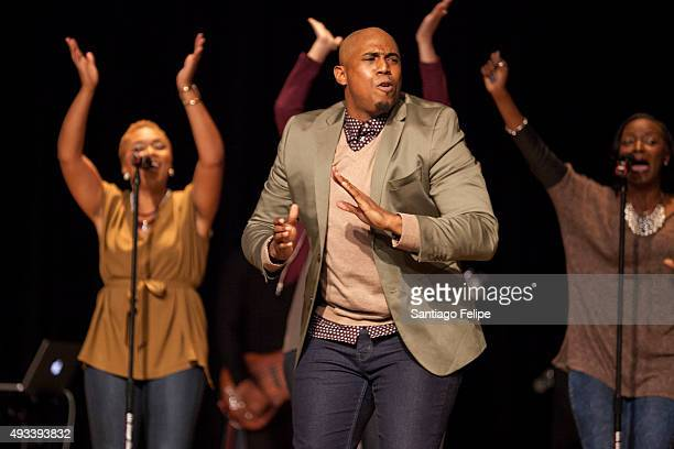 Anthony Brown and Group Therapy perform onstage during the 2015 Circle Of Sisters' Gospel Explosion Concert at Jacob Javitz Center on October 18 2015...