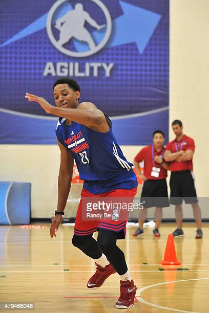 Anthony Brown completes an agility drill during the 2015 NBA Draft Combine on May 14 2015 at Quest Multiplex in Chicago Illinois NOTE TO USER User...