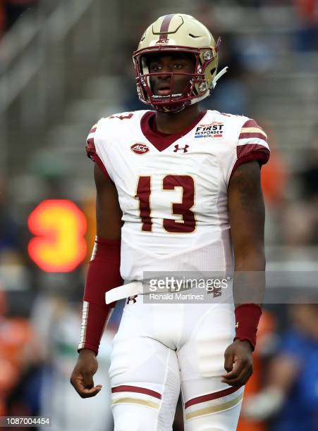 Anthony Brown of the Boston College Eagles against the Boise State Broncos during the SERVPRO First Responder Bowl at Cotton Bowl on December 26 2018...