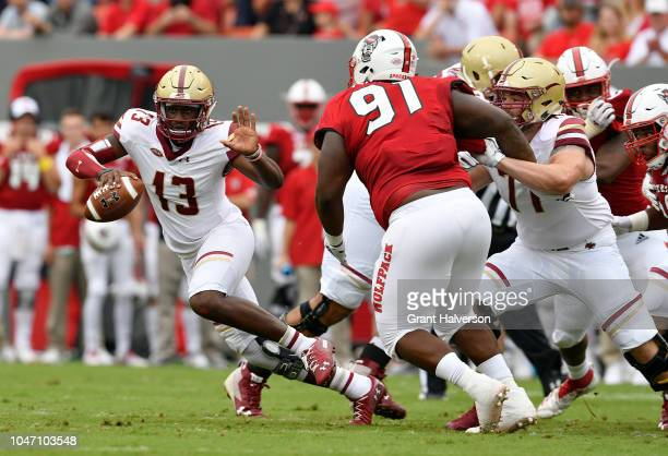 Anthony Brown of the Boston College Eagles against the North Carolina State Wolfpack during their game at CarterFinley Stadium on October 6 2018 in...