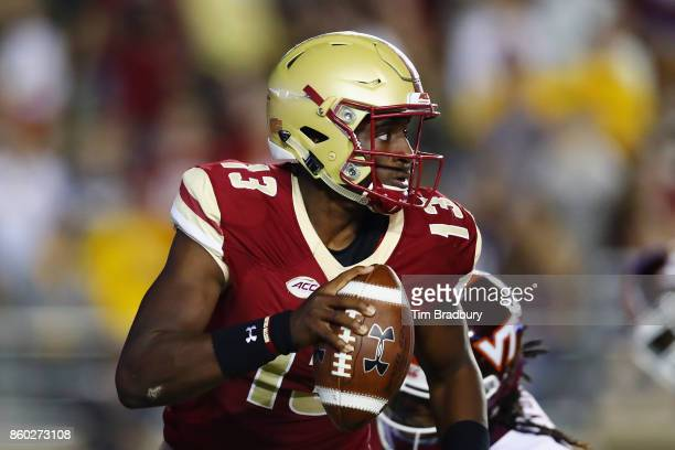 Anthony Brown of the Boston College Eagles handles the ball against the Virginia Tech Hokies at Alumni Stadium on October 7 2017 in Chestnut Hill...