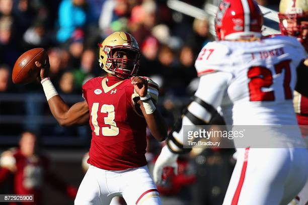 Anthony Brown of the Boston College Eagles looks to pass during the first half against the North Carolina State Wolfpack at Alumni Stadium on...