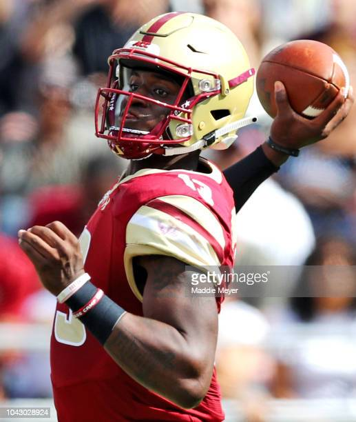 Anthony Brown of the Boston College Eagles makes a pass during the first half of the game between the Boston College Eagles and the Temple Owls at...