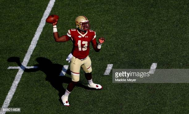 Anthony Brown of the Boston College Eagles makes a pass during the first half against the Notre Dame Fighting Irish at Alumni Stadium on September 16...