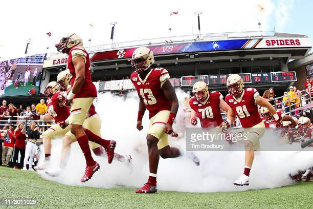 Anthony Brown of the Boston College Eagles runs onto the field before the game against the Richmond Spiders at Alumni Stadium on September 07 2019 in...