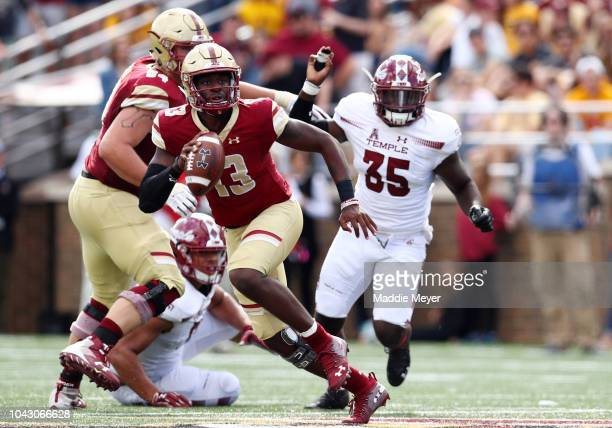 Anthony Brown of the Boston College Eagles runs with the ball during the second half of the game between the Boston College Eagles and the Temple...