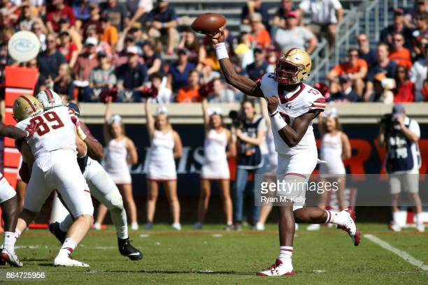 Anthony Brown of the Boston College Eagles throws a pass in the first quarter during a game at Scott Stadium on October 21 2017 in Charlottesville...