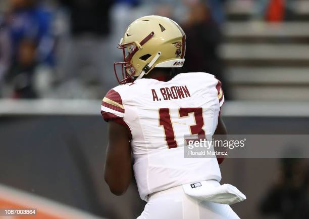 Anthony Brown of the Boston College Eagles throws against the Boise State Broncos during the SERVPRO First Responder Bowl at Cotton Bowl on December...