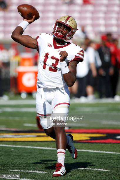 Anthony Brown of the Boston College Eagles warms up before a game against the Louisville Cardinals at Papa John's Cardinal Stadium on October 14 2017...