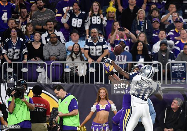 Anthony Brown of the Dallas Cowboys breaks up a pass to Charles Johnson of the Minnesota Vikings in the third quarter of the game on December 1 2016...