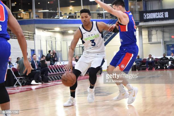 Anthony Brown of the Iowa Wolves handles the ball against the Grand Rapids Drive NBA G League Showcase Game 20 between the Grand Rapids Drive and the...