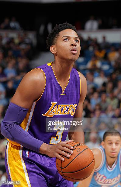 Anthony Brown of the Los Angeles Lakers attempts a free throw shot against the Sacramento Kings on October 30 2015 at Sleep Train Arena in Sacramento...