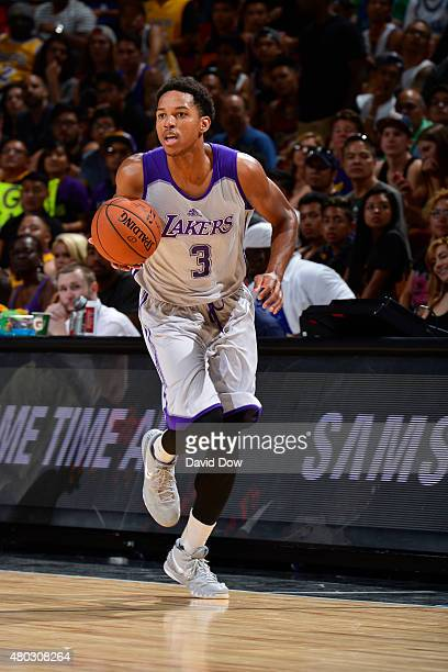 Anthony Brown of the Los Angeles Lakers drives to the basket agaisnt the Minnesota Timberwolves during NBA Summer League on July 10 2012 at the Cox...