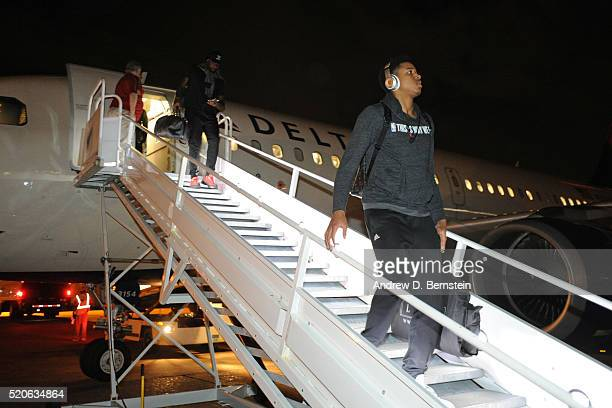 Anthony Brown of the Los Angeles Lakers exits the plane and arrives in Houston Texas from New Orleans Louisiana on April 8 2016 NOTE TO USER User...