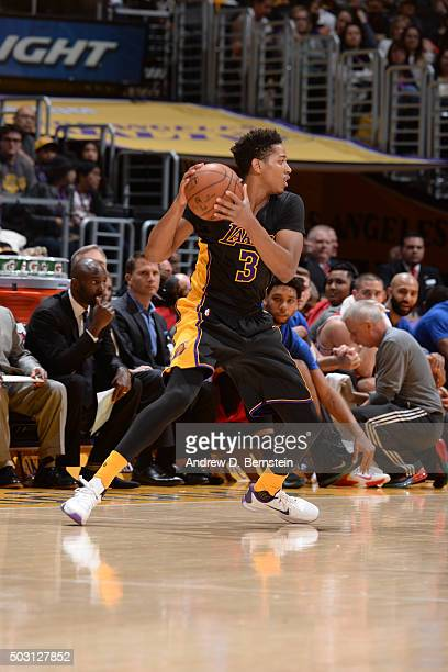 Anthony Brown of the Los Angeles Lakers handles the ball against the Philadelphia 76ers on January 1 2016 at STAPLES Center in Los Angeles California...