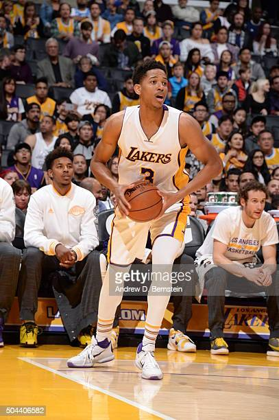 Anthony Brown of the Los Angeles Lakers handles the ball against the Utah Jazz on January 10 2016 at STAPLES Center in Los Angeles California NOTE TO...