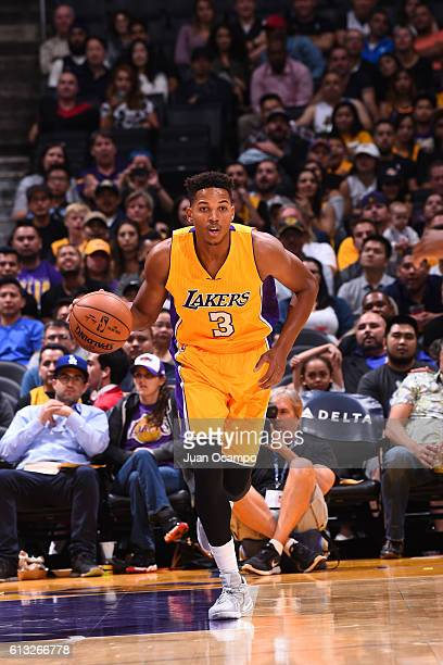 Anthony Brown of the Los Angeles Lakers handles the ball against the Denver Nuggets during a preseason game on October 7 2016 at STAPLES Center in...