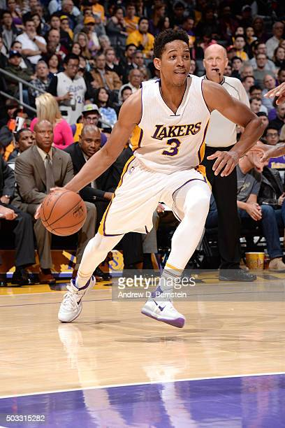 Anthony Brown of the Los Angeles Lakers handles the ball during the game against the Phoenix Suns on January 3 2016 at STAPLES Center in Los Angeles...