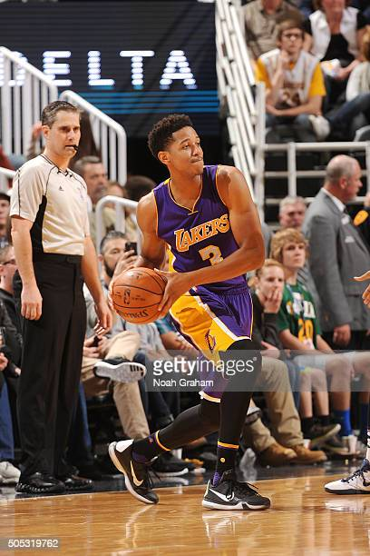 Anthony Brown of the Los Angeles Lakers handles the ball during the game against the Utah Jazz on January 16 2016 at EnergySolutions Arena in Salt...
