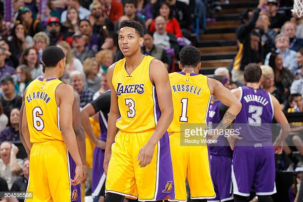 Anthony Brown of the Los Angeles Lakers looks on during the game against the Sacramento Kings on January 7 2016 at Sleep Train Arena in Sacramento...