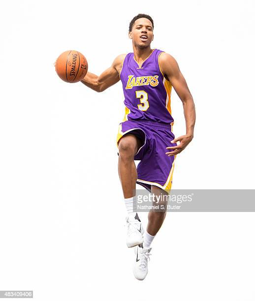 Anthony Brown of the Los Angeles Lakers poses for a photo during the 2015 NBA Rookie Shoot on August 8 2015 at the Madison Square Garden Training...