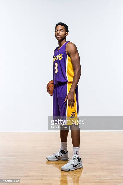 Anthony Brown of the Los Angeles Lakers poses for a portrait during the 2015 NBA rookie photo shoot on August 8 2015 at the Madison Square Garden...