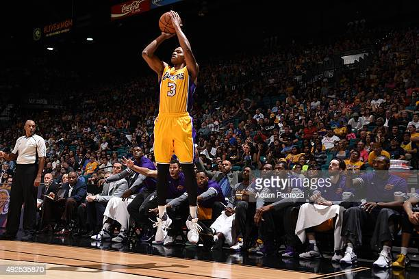 Anthony Brown of the Los Angeles Lakers shoots against the Sacramento Kings on October 13 2015 at the MGM Grand Garden Arena in Las Vegas Nevada NOTE...