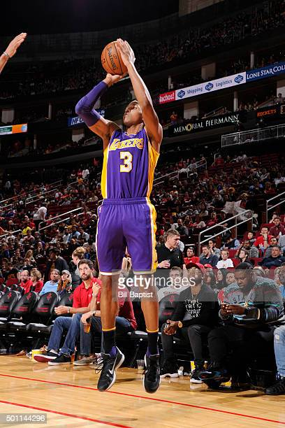 Anthony Brown of the Los Angeles Lakers shoots the ball against the Houston Rockets on December 12 2015 at the Toyota Center in Houston Texas NOTE TO...