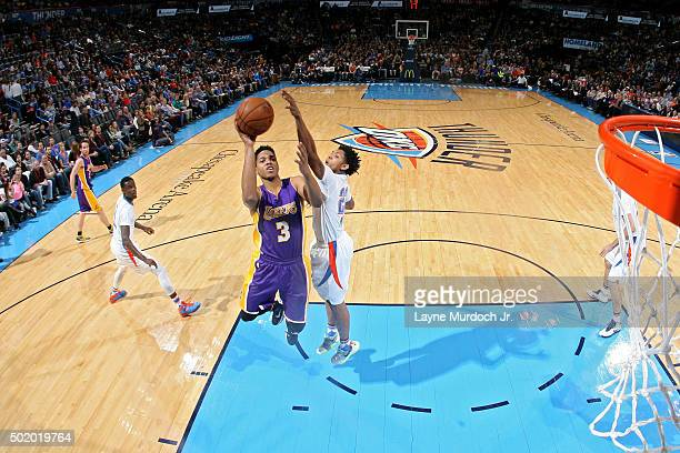 Anthony Brown of the Los Angeles Lakers shoots the ball against the Oklahoma City Thunder on December 19 2015 at Chesapeake Energy Arena in Oklahoma...