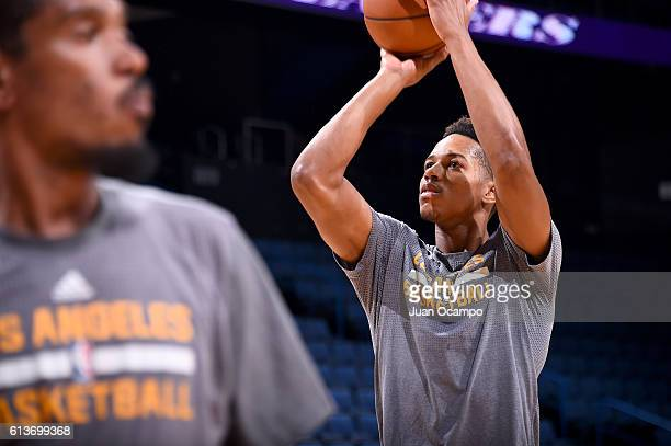 Anthony Brown of the Los Angeles Lakers shoots the ball before a preseason game against the Denver Nuggets on October 9 2016 at Citizens Business...