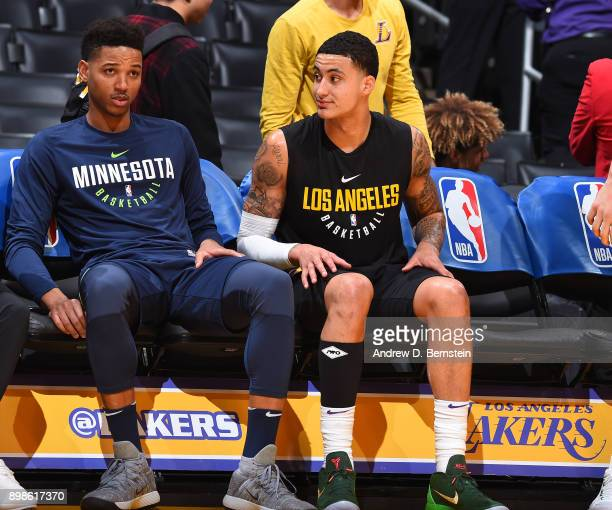 LOS ANGELES CA DECEMBER 25 Anthony Brown of the Minnesota Timberwolves and Kyle Kuzma of the Los Angeles Lakers talk before the game on December 25...