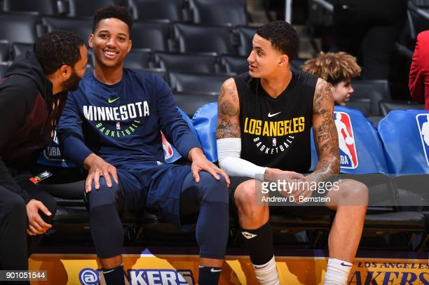 Anthony Brown of the Minnesota Timberwolves and Kyle Kuzma of the Los Angeles Lakers chat prior to the game between the two teams on December 25 2017...
