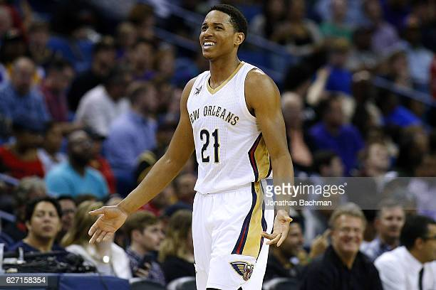 Anthony Brown of the New Orleans Pelicans reacts during a game against the Los Angeles Lakers at the Smoothie King Center on November 29 2016 in New...