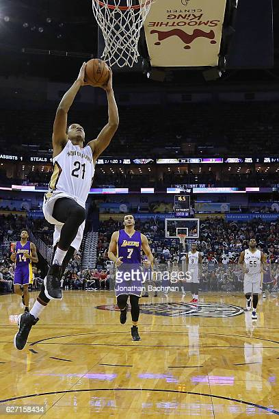 Anthony Brown of the New Orleans Pelicans shoots during the second half of a game against the Los Angeles Lakers at the Smoothie King Center on...