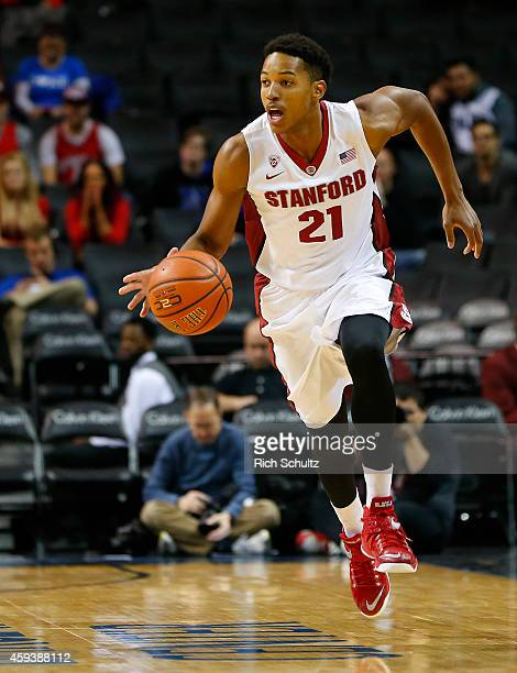 Anthony Brown of the Stanford Cardinal moves with the ball against the UNLV Rebels during the first half of a game in the Coaches vs Cancer Classic...