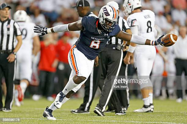 Anthony Brown of the TennesseeMartin Skyhawks celebrates after recovering a fumble during the second quarter of the game against the Cincinnati...