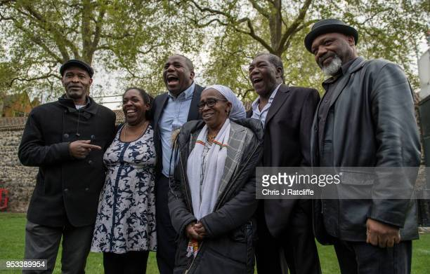 Anthony Bryan Sarah Connor David Lammy Labour Party MP Paulette Wilson Sylvester Marshall and Elwaldo Romeo pose for a phtograph on College Green...