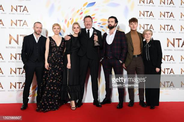 Anthony Byrne Kate Phillips Sophie Rundle Steven Knight Emmett J Scanlan Harry Kirton and guest accepting the Best Drama award for Peaky Blinders...