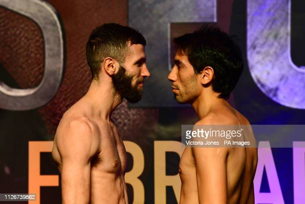 Anthony Cacace and Alan Castillo during the weigh in at the The O2 London