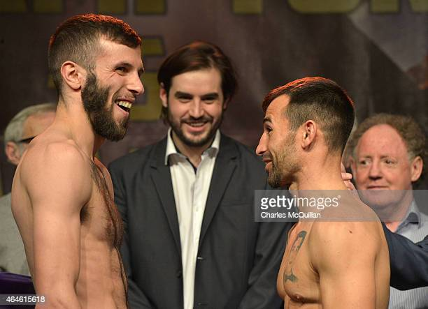 Anthony Cacace and Santiago Bustos face off at the prefight weighin ahead of the IBF World Super Bantamweight title fight between Carl Frampton and...
