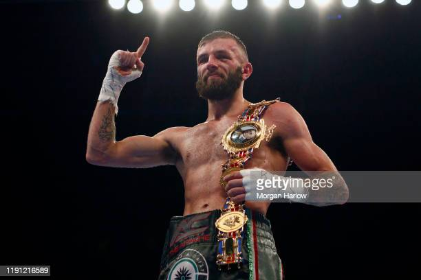 Anthony Cacace celebrates winning The British SuperFeatherweight between Sam Bowen and Anthony Cacace at Arena Birmingham on November 30 2019 in...