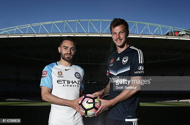 Anthony Caceres of Melbourne City and James Donachie of Melbourne Victory pose for photographs during an ALeague media opportunity at Etihad Stadium...