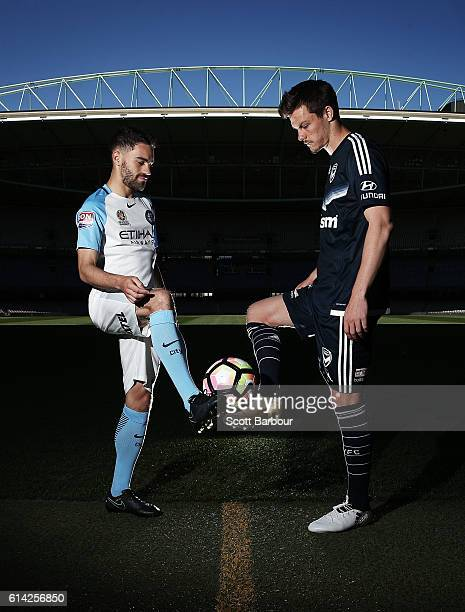 Anthony Caceres of Melbourne City and James Donachie of Melbourne Victory compete for the ball as they pose for photographs during an ALeague media...