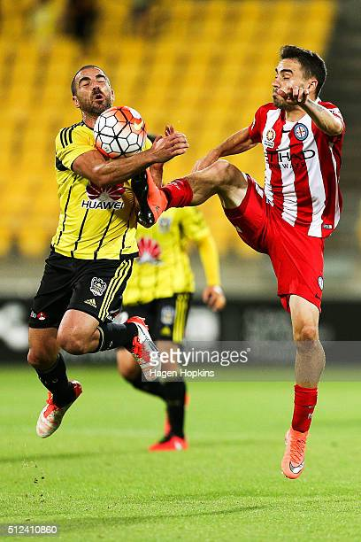 Anthony Caceres of Melbourne City and Manny Muscat of the Phoenix compete for the ball during the round 21 ALeague match between the Wellington...