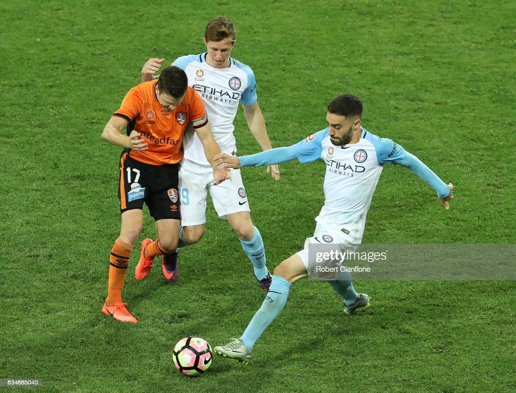 Anthony Caceres of Melbourne City controls the ball during the round 19 A-League match between Melbourne City FC and the Brisbane Roar at AAMI Park on February 11, 2017 in Melbourne, Australia.