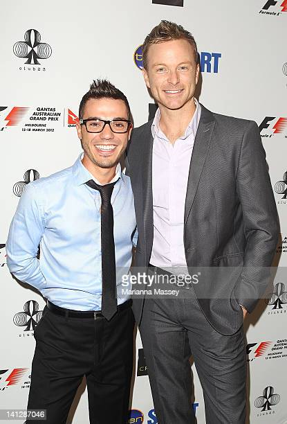 Anthony Calea and Tim Campbell arrive at the opening party of the 2012 Australian Grand Prix at Club 23 on March 14 2012 in Melbourne Australia