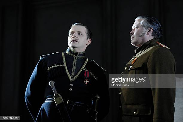 Anthony Calf as The Hetman and Conleth Hill as Leonid in the production of Mikhail Bulgakov's The White Guard directed by Howard Davies at the...