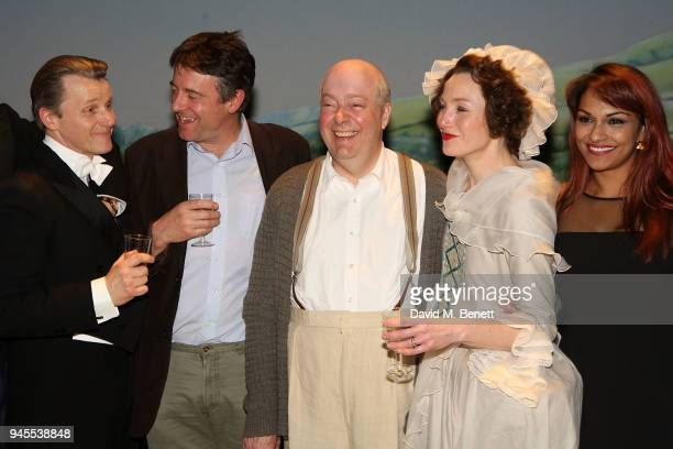 Anthony Calf Gus Christie Roger Allam Nancy Carroll and Danielle de Niese pose backstage following the press night performance of The Moderate...