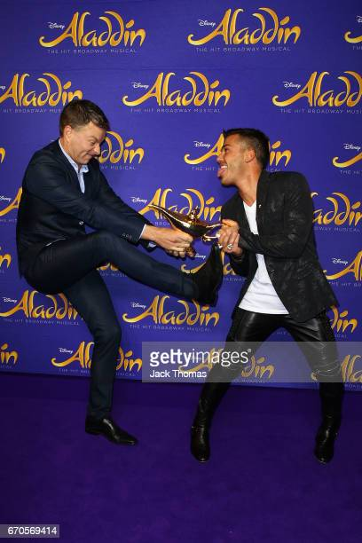 Anthony Callea and Tim Campbell arrive ahead of Aladdin opening night at Her Majesty's Theatre on April 20 2017 in Melbourne Australia