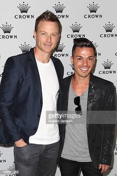 Anthony Callea and Tim Campbell arrive at Crown's IMG Tennis Player's Party at Crown Towers on January 13 2013 in Melbourne Australia